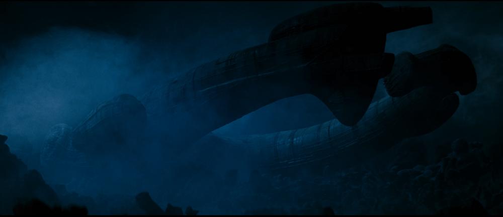 derelict ship in the dark