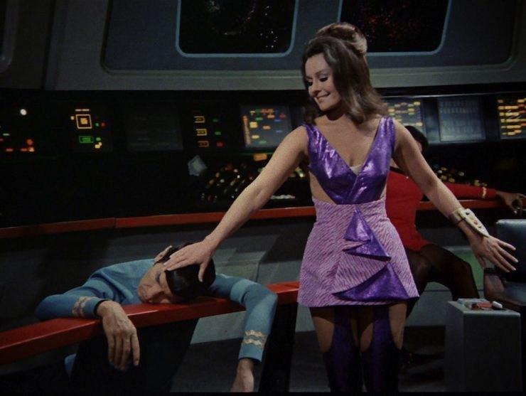 Kaara in a purple dress