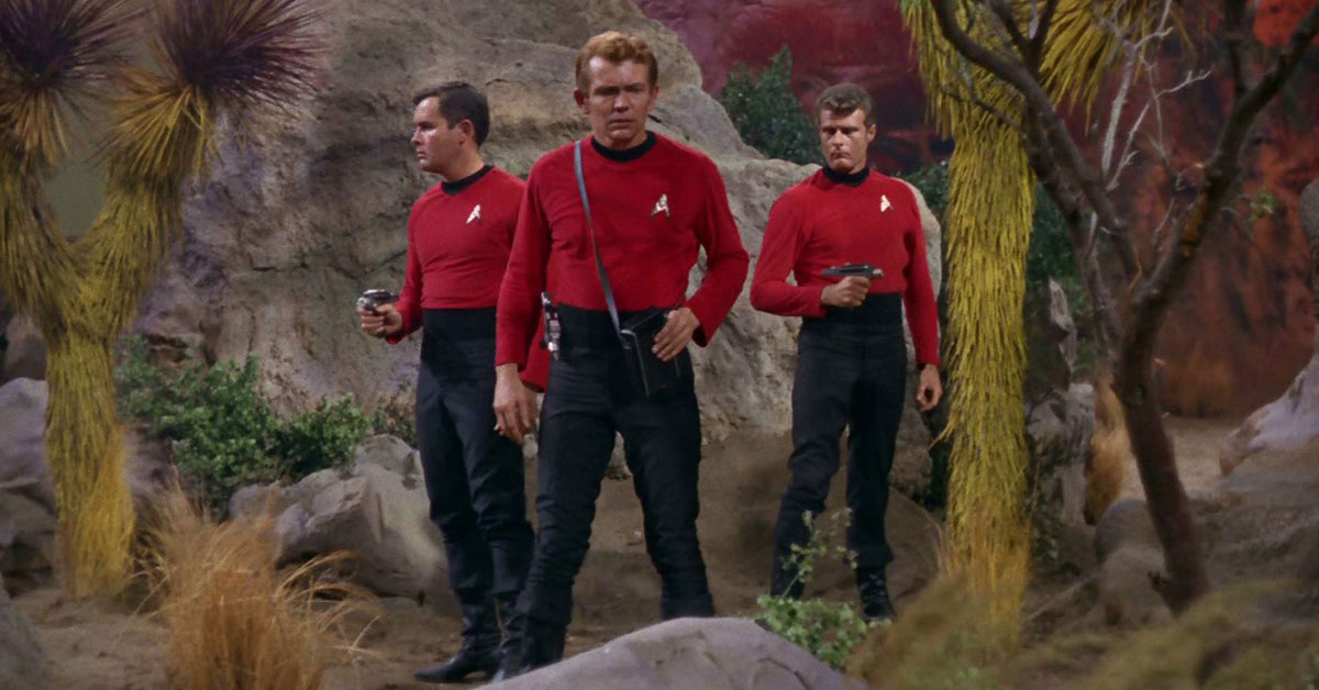 men in red shirts