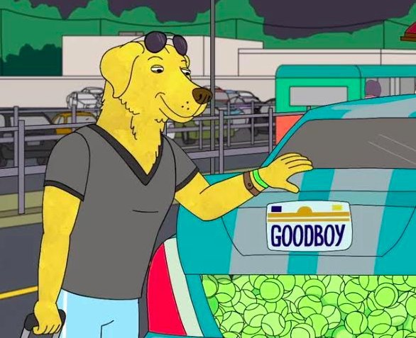 Mr Peanutbutter with his car