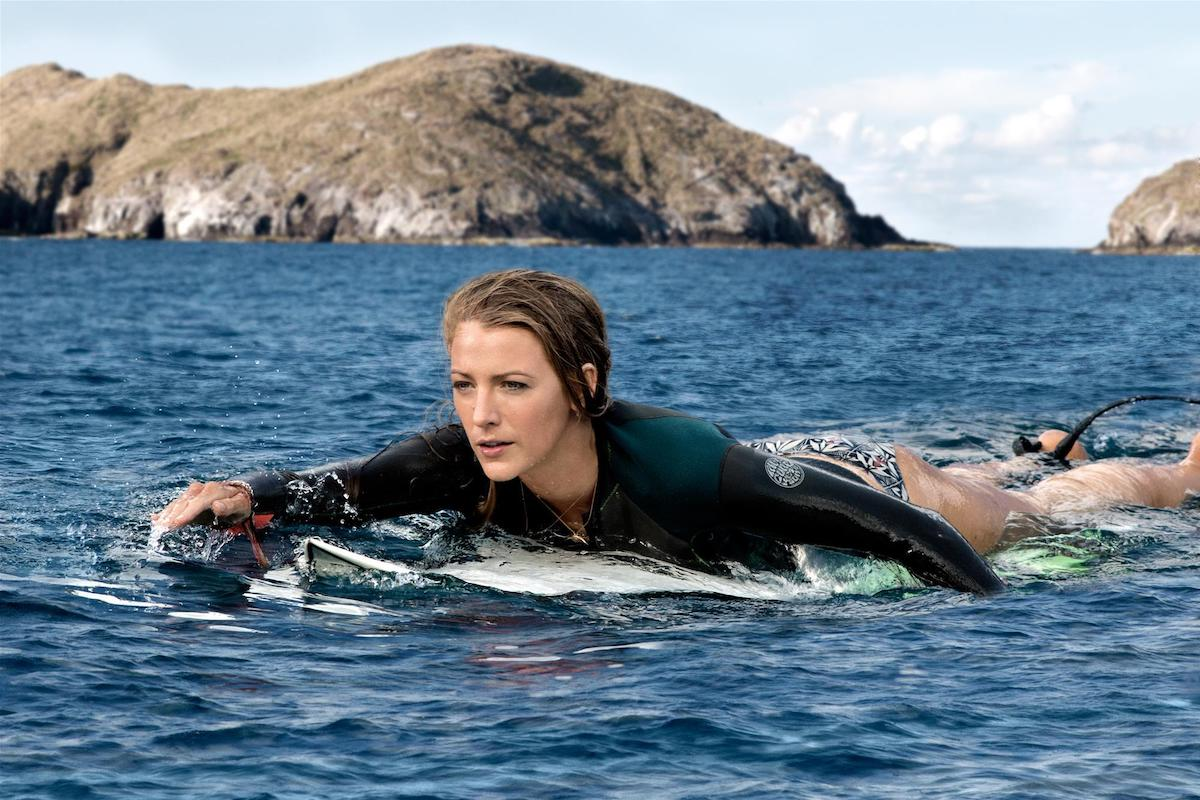 Blake Lively on a surfboard