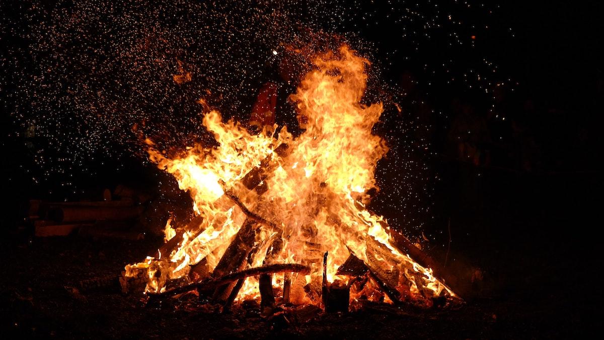 a bonfire at night