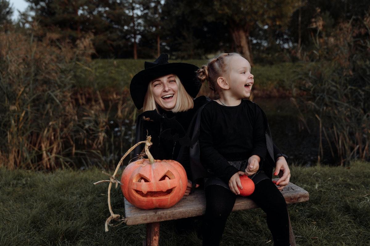 girls celebrating halloween